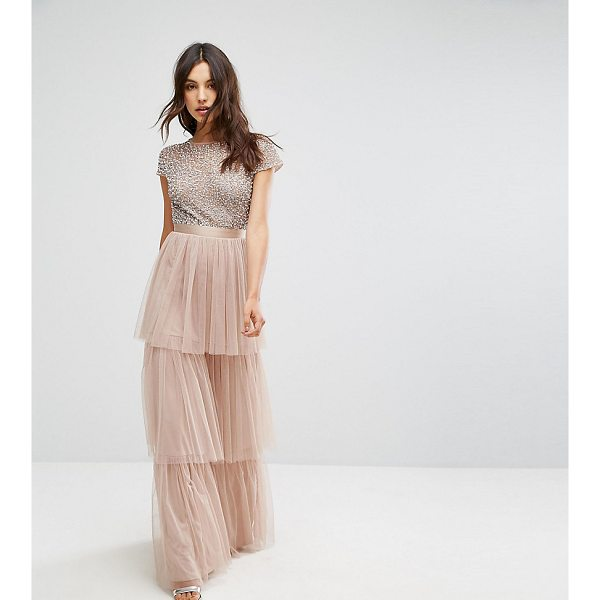 """MAYA Cape Sleeve Tiered Maxi Dress in Tonal Delicate Sequin with Bow Back - """"""""Maxi dress by Maya, Midweight woven fabric, Round neck,..."""