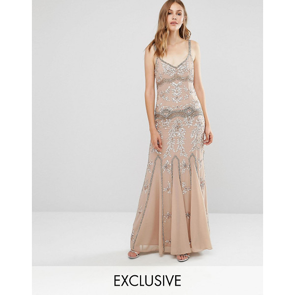 MAYA Delicate Embellished Maxi Dress with Fishtail - Maxi dress by Maya, Lined chiffon, All-over embellished...