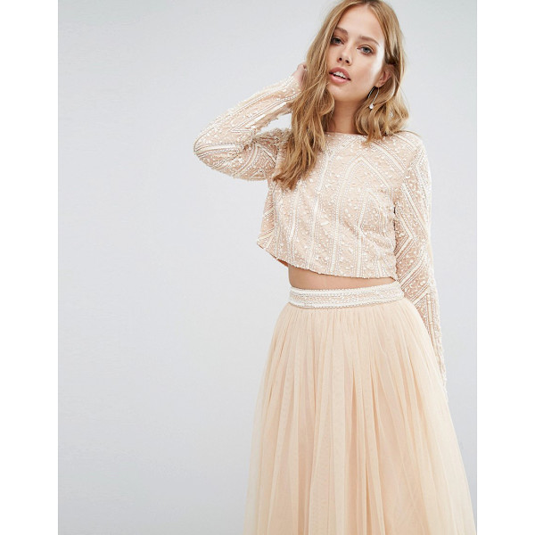 MAYA Embellished Long Sleeved Crop Top - Top by Maya, Lined mesh, Embellished with beads and...