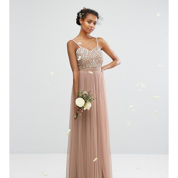 "MAYA Embellished Tulle Maxi Dress - """"Maxi dress by Maya, Lined woven top, V-neck, Bead and..."