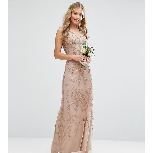 """MAYA Embroided Maxi Dress With Beading And V Plunge - """"""""Maxi dress by Maya, Sheer embroidered fabric, Fully..."""