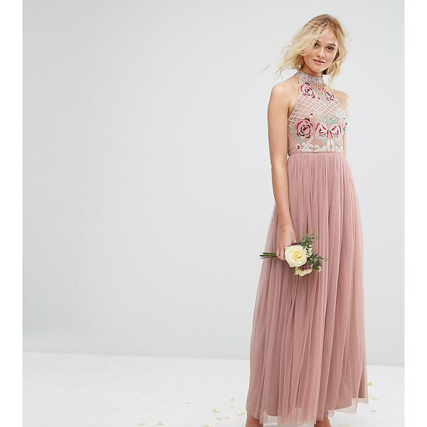 """MAYA High Neck Embroidered Rose Tulle Maxi Dress - """"""""Maxi dress by Maya, Lined woven top, High neck, Floral..."""