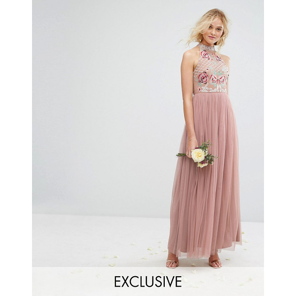 MAYA High Neck Embroidered Rose Tulle Maxi Dress - Maxi dress by Maya, Lined woven top, High neck, Floral...