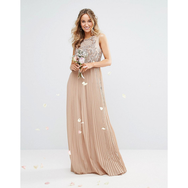"""MAYA High Neck Maxi Dress with Tonal Embellishment and Pleated Skirt - """"""""Maxi dress by Maya, Smooth woven fabric, Bead and sequin..."""