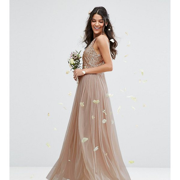 """MAYA High Neck Maxi Tulle Dress With Tonal Delicate Sequins - """"""""Evening dress by Maya Petite's, Sequin embellished..."""