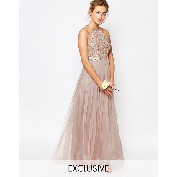 MAYA High Neck Maxi Tulle Dress With Tonal Delicate Sequins - Evening dress by Maya Petite's, Sequin embellished bodice,...