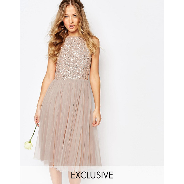 "MAYA High Neck Midi Tulle Dress With Tonal Delicate Sequins - """"Evening dress by Maya Petite's, Lined tulle skirt, Sequin..."