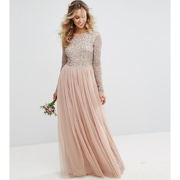 """MAYA Long Sleeved Maxi Dress with Delicate Sequin and Tulle Skirt - """"""""Maxi dress by Maya, Sequin embellished fabric, Long..."""