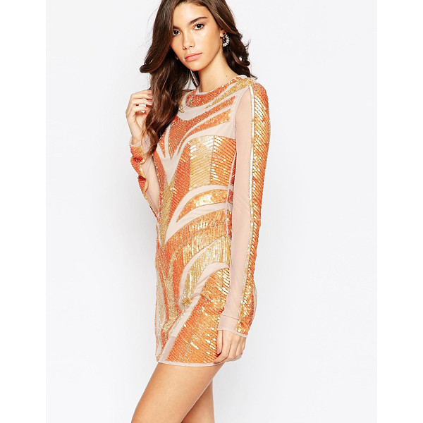 MAYA Mesh and sequin body-conscious dress with cut out back - Evening dress by Maya Petite's Sequinned mesh Lined body...