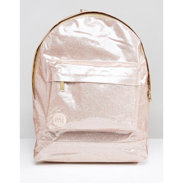 "MI-PAC Classic Backpack in Champagne Glitter - """"Backpack by Mi-Pac, Faux-leather outer, Glitter finish,..."