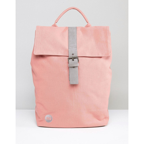 MI-PAC Fold Top Canvas Backpack in Rose Pink - Backpack by Mi-Pac, Durable canvas outer, Grab handle,...