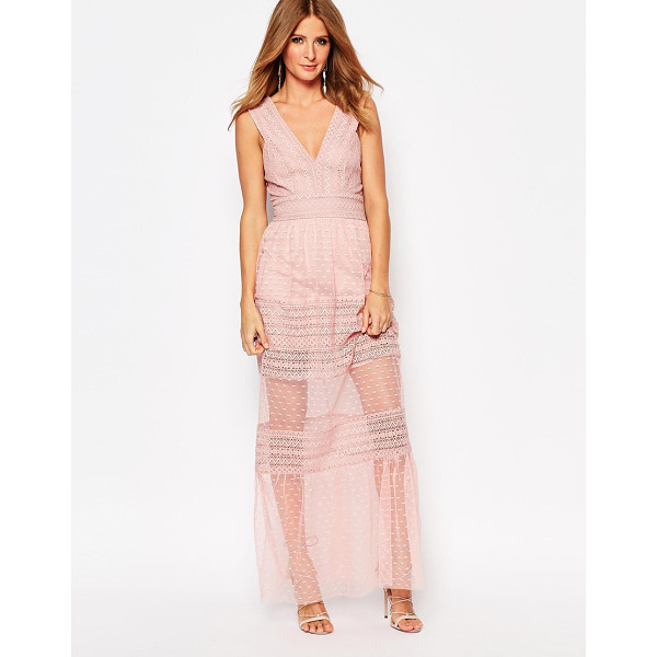 MILLIE MACKINTOSH Plunge Neck Maxi Dress With Sheer Inserts - Maxi dress by Millie Mackintosh, Semi-sheer lace, Plunge...