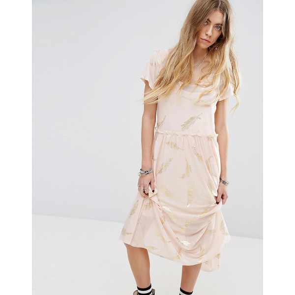 """MINKPINK Beauty And The Beast Sheer Layer Smock Dress With Feather Print - """"""""Dress by Minkpink, Designed in collaboration with Disney,..."""