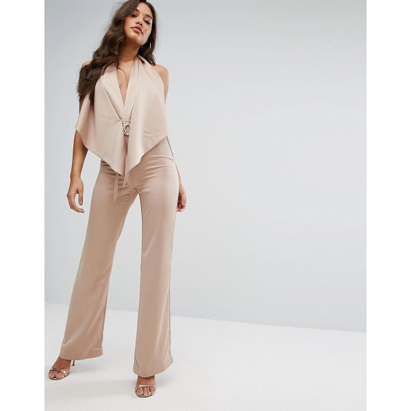 "MISHA COLLECTION Collection Plunge Jumpsuit With Tie Waist - """"Jumpsuit by Misha, Satin-style fabric, Plunge neck,..."