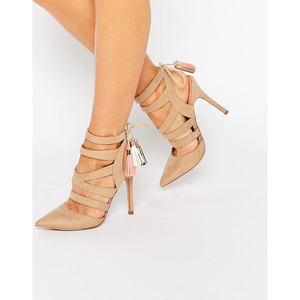 MISS KG Alana Ghillie Heeled Shoes - Heels by Miss KG, Faux-suede upper, Caged strap design,...