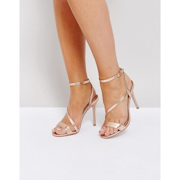 MISS KG Asymmetric Heel Sandals - Shoes by Miss KG, Metallic upper, Ankle-strap fastening,...