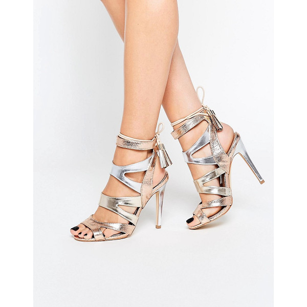 MISS KG Frenchy Metal Gold Metallic Caged Heeled Sandals - Sandals by Miss KG, Faux-leather upper, Metallic finish,...