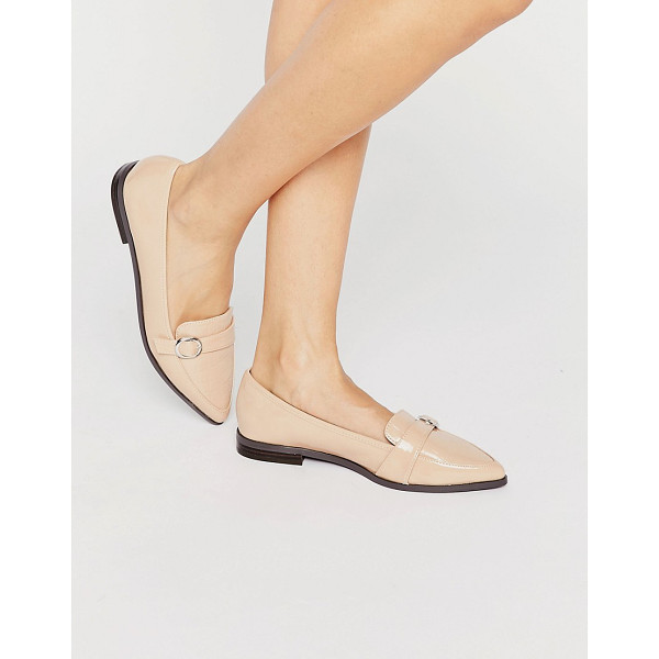 MISS KG Neeve Buckle Strap Point Flat Shoes - Flat shoes by Miss KG, Faux-leather upper, Patent finish,...