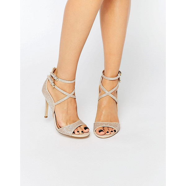 MISS KG Steffan Strappy Heeled Sandals - Shoes by Miss KG, Gold-tone glitter-finish upper, Pin
