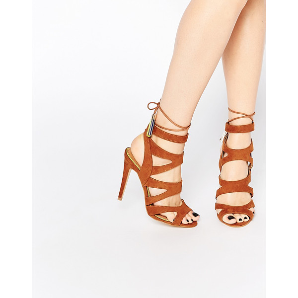 "MISS KG Tan Frenchy Heeled Sandals - """"Heels by Miss KG, Leather-look upper, Lace-up closure,..."