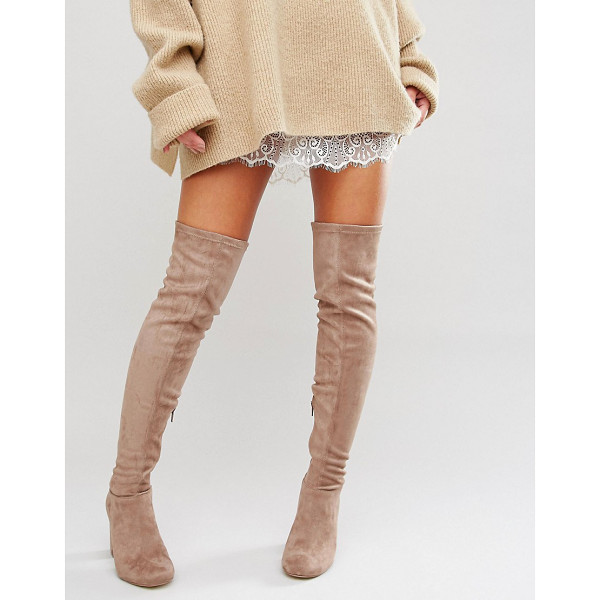MISS KG Vegas Heeled Over The Knee Boots - Boots by Miss KG, Faux-suede upper, Over-the-knee design,