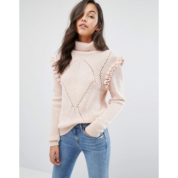MISS SELFRIDGE Chunky Frill Detail Sweater - Sweater by Miss Selfridge, Midweight chunky knit, Threaded...