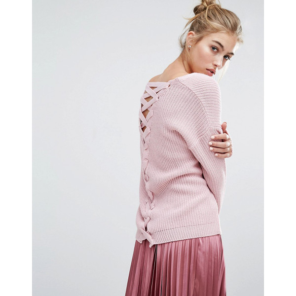 MISS SELFRIDGE Lattice Back Sweater - Sweater by Miss Selfridge, Rib knit, V-neckline, Lace-up...