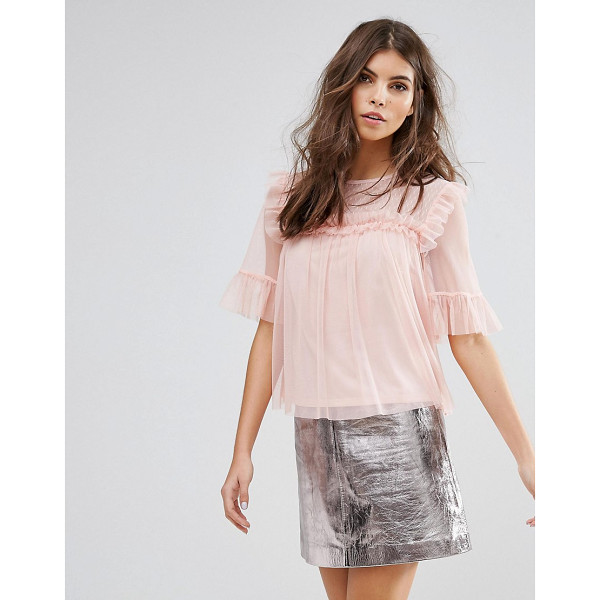 "MISS SELFRIDGE Pleated Mesh Tee - """"Top by Miss Selfridge, Super lightweight mesh, Part..."