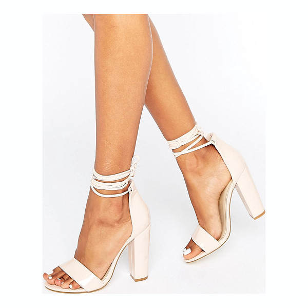 MISSGUIDED Barely There Wrap Around Block Heels - Heels by Missguided, Faux-leather upper, Patent finish,...