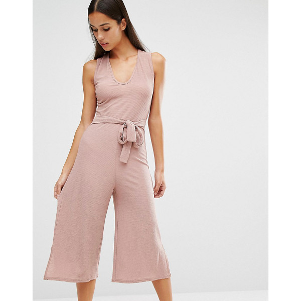 MISSGUIDED Belted Culotte Jumpsuit - Culottes by Missguided, Textured woven fabric, V-neckline,...