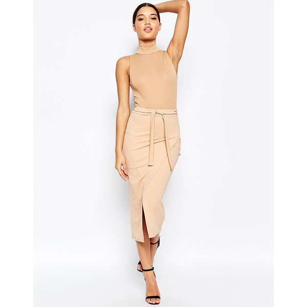 MISSGUIDED Belted wrap skirt - Pencil skirt by Missguided Stretch woven fabric Wrap-style...