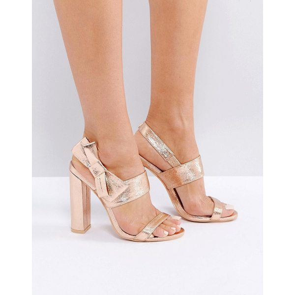 "MISSGUIDED Bow Side Heeled Sandal - """"Heels by Missguided, Faux-leather upper, Metallic finish,..."