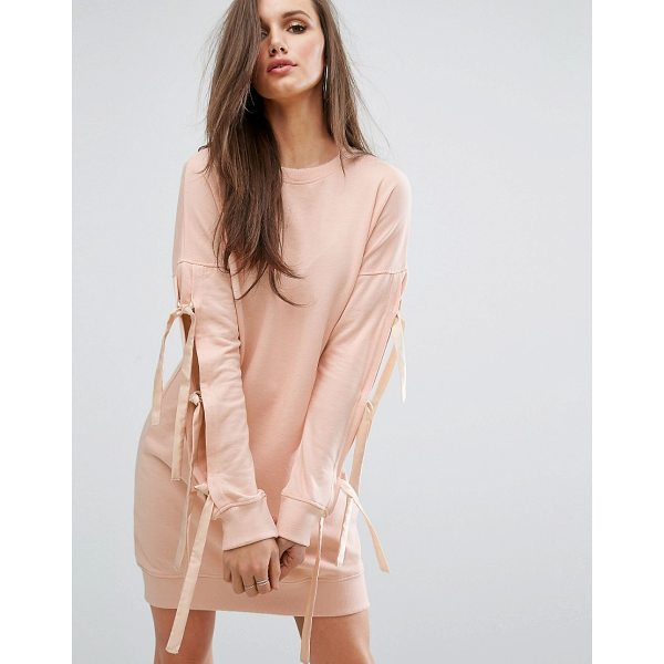 MISSGUIDED Bow Sleeve Sweat Dress - Dress by Missguided, Soft-touch sweat, Crew neck, Dropped...