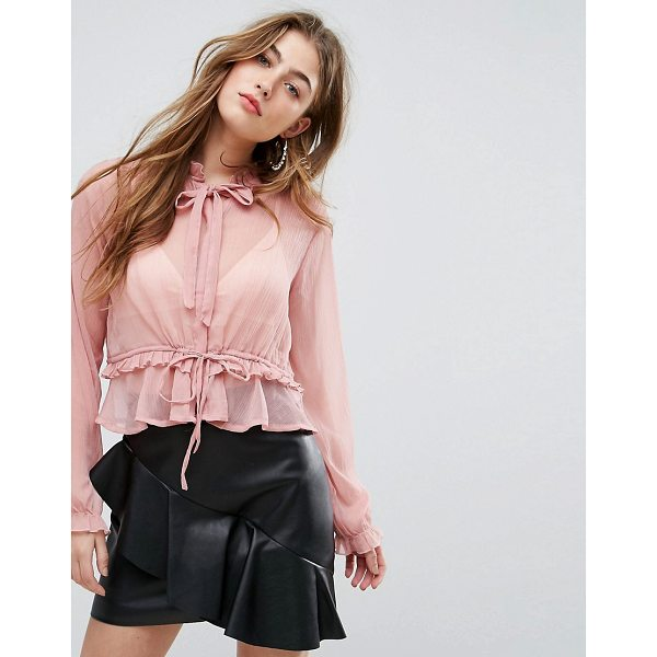 MISSGUIDED Chiffon Tie Neck Blouse - Blouse by Missguided, Round neck with bow detail, Ruffle...