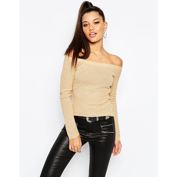 MISSGUIDED Clean bardot top - Top by Missguided Ribbed knit Bardot neckline Slim fit -...