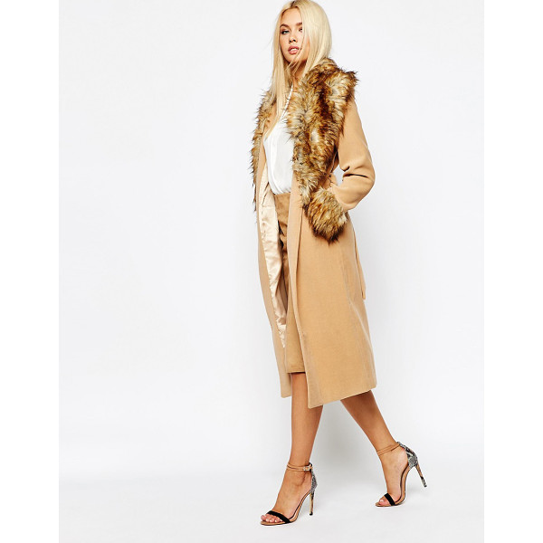 MISSGUIDED Coat with faux fur collar and cuffs - Coat by Missguided Smooth woven outer Silky-feel lining...