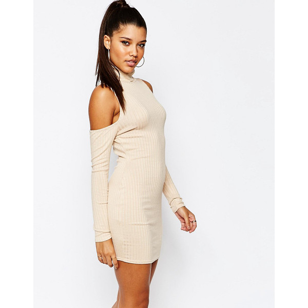 MISSGUIDED Cold shoulder bodycon dress - Dress by Missguided, Ribbed jersey, Rolled neckline,...