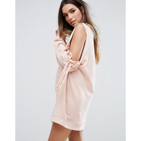 "MISSGUIDED Cold Shoulder Gathered Sleeve Sweater Dress - """"Dress by Missguided, Loop-back sweat, High neck,..."