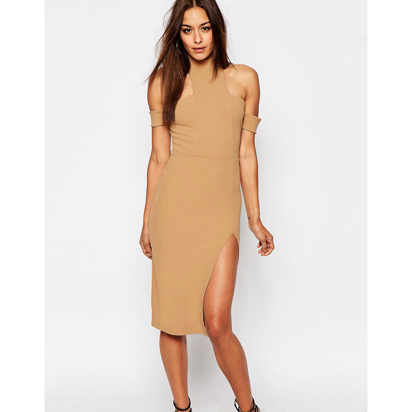 MISSGUIDED Cut Out Choker Midi Dress - Dress by Missguided, Lined stretch crepe, High neck,...