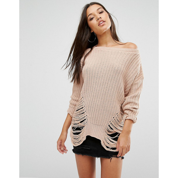 MISSGUIDED Distressed Off The Shoulder Sweater - Sweater by Missguided, Textured know, Off the shoulder...
