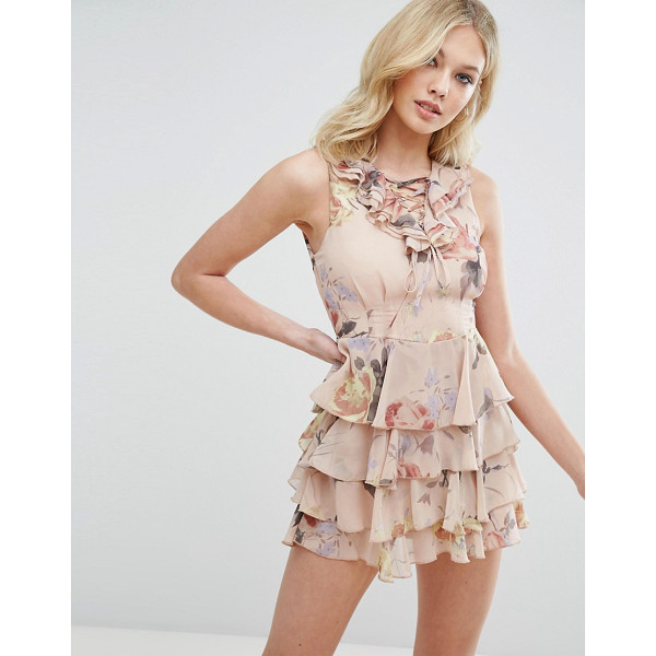 """MISSGUIDED Floral Print Lace Up Ruffle Dress - """"""""Dress by Missguided, Smooth woven fabric, Floral print,..."""