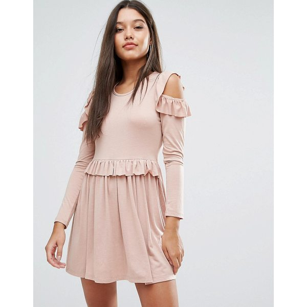 """MISSGUIDED Frill Cold Shoulder Mini Dress - """"""""Dress by Missguided, Soft-touch jersey, Scoop neck,..."""