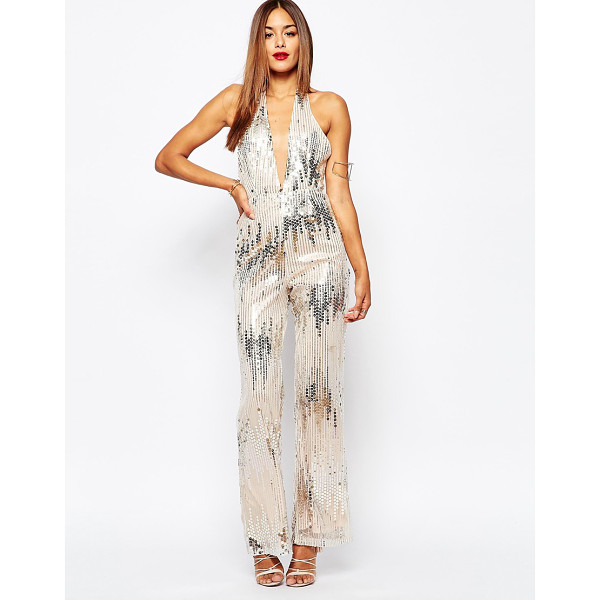 MISSGUIDED Halter full sequin jumpsuit - Jumpsuit by Missguided Sequin embellished mesh Soft-touch...