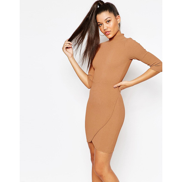 MISSGUIDED High Neck Textured Wrap Dress - Body-Conscious dress by Missguided, Textured stretch...
