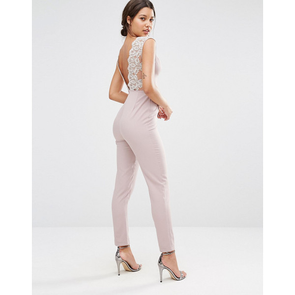 MISSGUIDED Lace back detail jumpsuit - Jumpsuit by Missguided Smooth woven fabric Square-plunge...