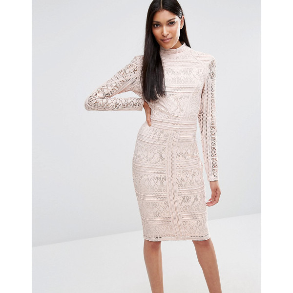 MISSGUIDED Lace Long Sleeve High Neck Midi Dress - Midi dress by Missguided, Lace fabric, Partial lining, High...