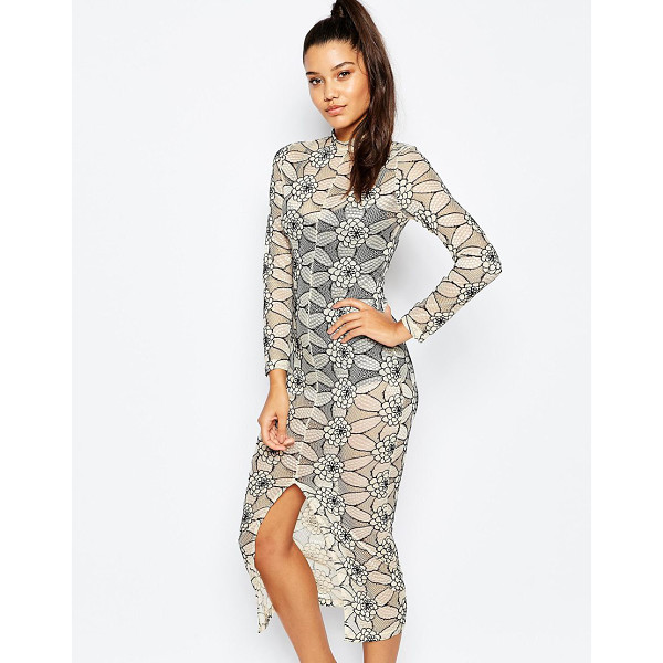 MISSGUIDED Lace midi body-conscious dress - Midi dress by Missguided Sheer fishnet lace Bodysuit lining...