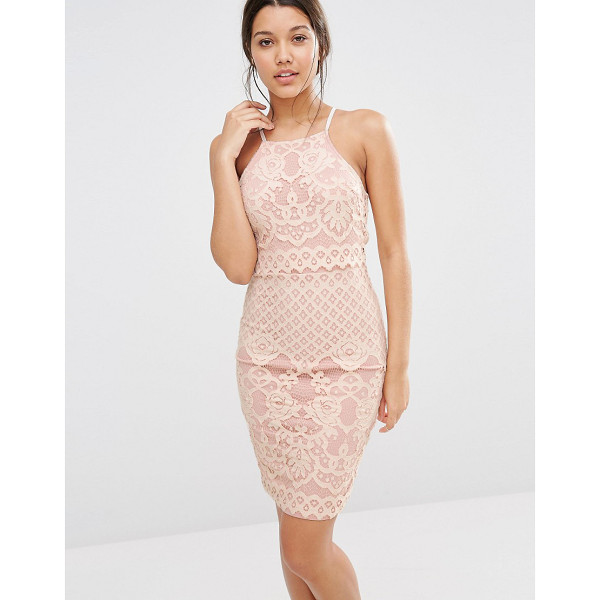 MISSGUIDED Lace Strappy Double Layer Dress - Midi dress by Missguided, Woven lace, Racer style, Square...