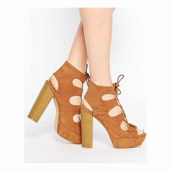 MISSGUIDED Lace up 70s platform sandal - Platform shoes by Missguided, Suede-look upper, Lace-up...