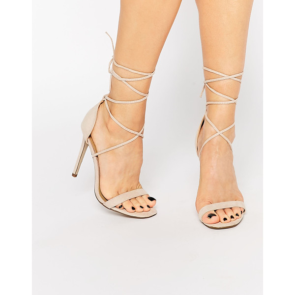 MISSGUIDED Lace Up Barely There Sandal - Heels by Missguided, Leather-look upper, Lace-up closure,...
